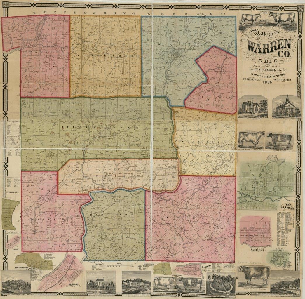 1856 Wall Map of Warren County, Ohio | RussCarter com